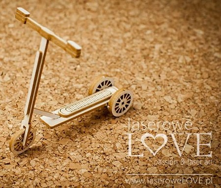 Laserowe Love Chipboard - 3D Scooter - Vintage Baby