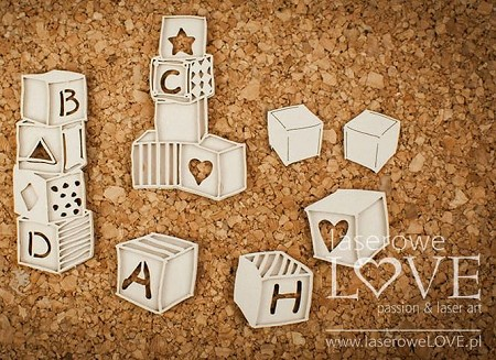 Laserowe Love Chipboard - Layered Baby Blocks - Vintage Baby