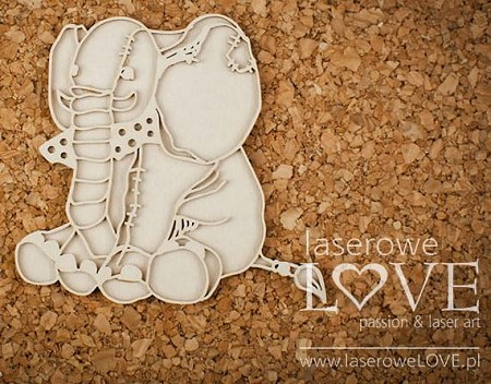 Laserowe Love Chipboard - Layered Plush Elephant - Vintage Baby