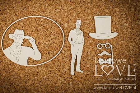 Laserowe Love Chipboard - Man in Hat - Vintage Gentleman