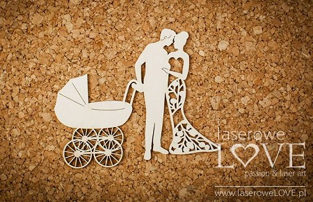 Laserowe Love Chipboard - Couple with a Troley - Wedding Day