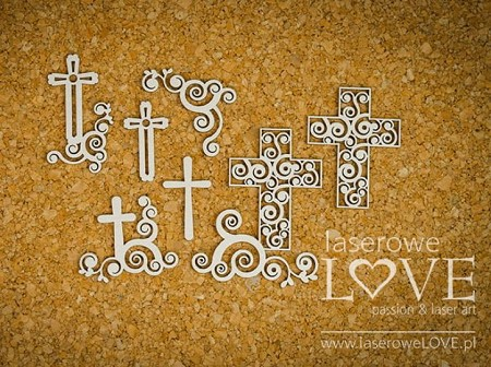Laserowe Love Chipboard - Ornament crosses - Holy & White