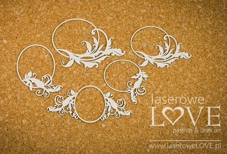 Laserowe Love Chipboard - Small Oval Frames w/ Flourish - Holy & White