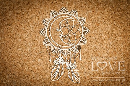 Laserowe Love Chipboard - Dreamcatcher with the Moon - Indiana