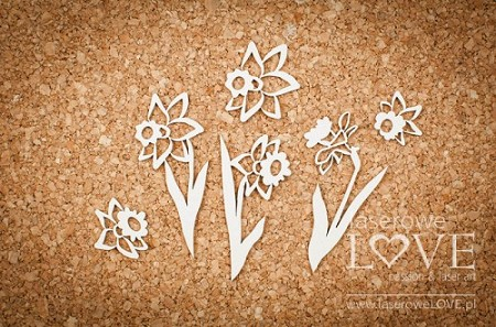 Laserowe Love Chipboard - Daffodils - Yellow Spring