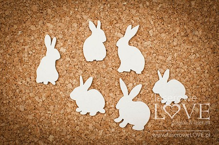 Laserowe Love Chipboard - Rabbits - Yellow Spring