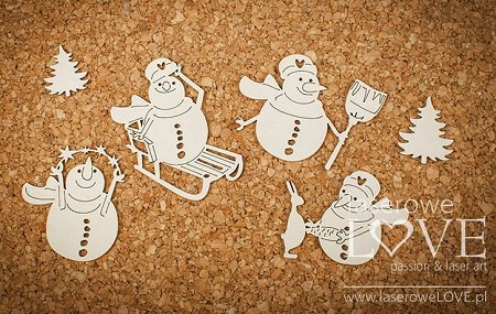 Laserowe Love Chipboard - Four Snowmen - Vintage Christmas