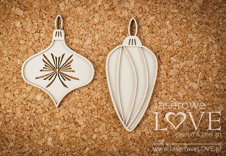 Laserowe Love Chipboard - Vintage Baubles - Vintage Christmas
