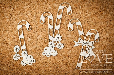 Laserowe Love Chipboard - Candy Canes with Holly - Vintage Christmas