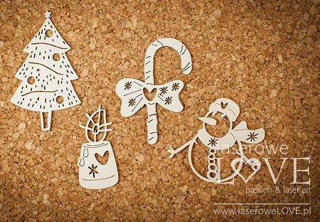 Laserowe Love Chipboard - Christmas set with snowman - Vintage Christmas