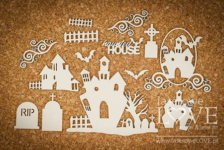 Laserowe Love Chipboard - Haunted houses - Halloween Time