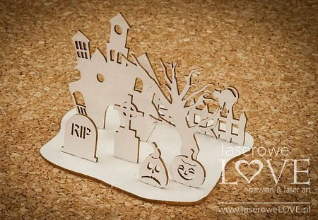Laserowe Love Chipboard - 3D Haunted Cemetery - Halloween Time