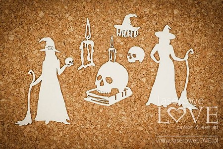 Laserowe Love Chipboard - Witch with Skulls - Halloween Time