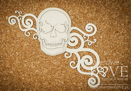 Laserowe Love Chipboard - Big Skull with flourishes - Halloween Time