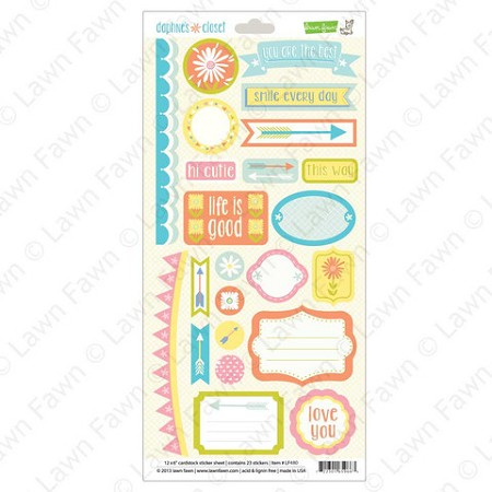 "Lawn Fawn - Daphne's Closet Collection - 6""x12"" Sticker Sheet - Element Stickers"