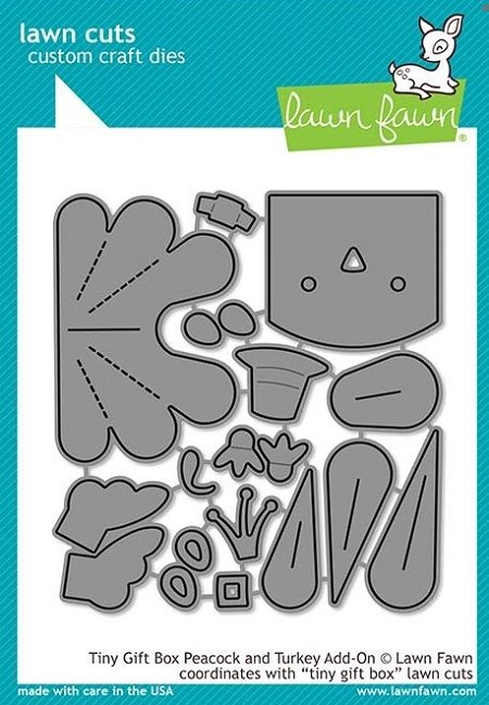 Lawn Fawn - Die - Tiny Gift Box Peacock and Turkey Add-On
