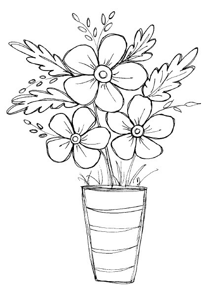 Magenta Cling Rubber Stamp Potted Flowers