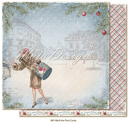 "Maja Design - Christmas Season Collection - 12""x12"" Double Sided Cardstock - Mail the Postcards"