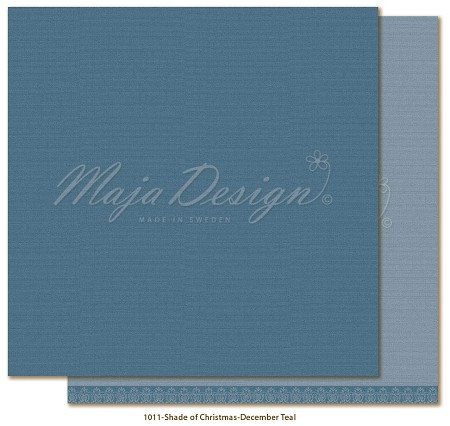 "Maja Design - Monochromes - 12""x12"" Double Sided Cardstock - Shades of Christmas Season December Teal"