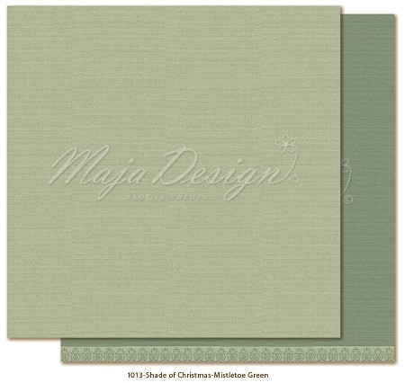 "Maja Design - Monochromes - 12""x12"" Double Sided Cardstock - Shades of Christmas Season Mistletoe Green"