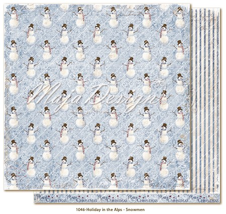"Maja Design - Holiday In The Alps Collection - Snowmen 12""x12"" Double Sided Cardstock"
