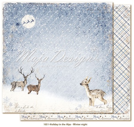 "Maja Design - Holiday In The Alps Collection - Winter night 12""x12"" Double Sided Cardstock"