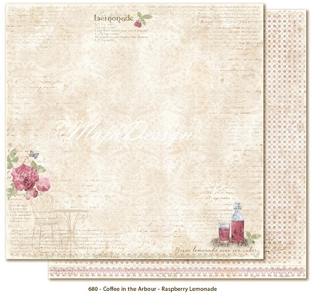 "Maja Design - Coffee in the Arbour Collection - 12""x12"" Double Sided Paper - Raspberry Lemonade"
