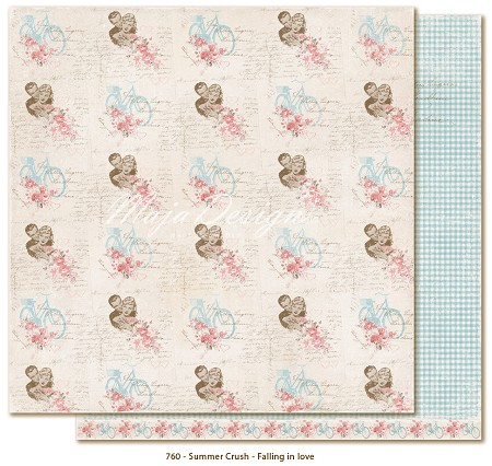 "Maja Design - Summer Crush Collection - 12""x12"" Double Sided Cardstock - Falling In Love"