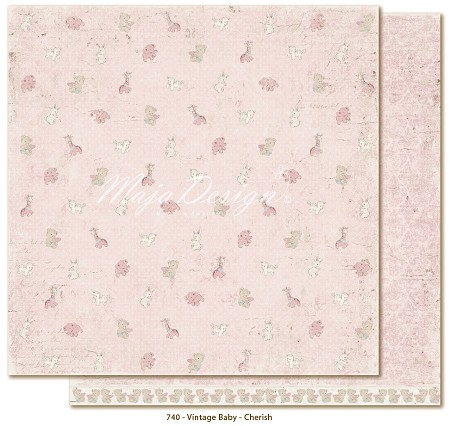 "Maja Design - Vintage Baby Collection - 12""x12"" Double Sided Cardstock - Cherish"