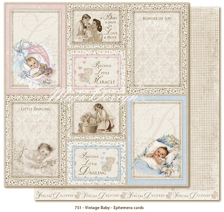 "Maja Design - Vintage Baby Collection - 12""x12"" Double Sided Cardstock - Ephemera Cards (not pre-cut)"