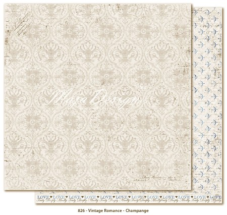 "Maja Design - Vintage Romance Collection - 12""x12"" Double Sided Cardstock - Champagne"