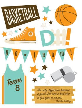 Making Memories - Dimensional Stickers - Design Shop - Basketball