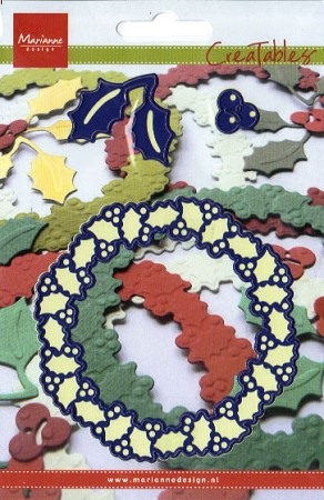 Marianne Design - Creatables Die - Holly Wreath w/extra Holly