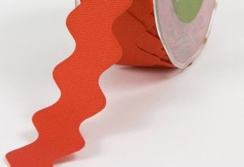 "May Arts - 1"" Grosgrain / Ric Rac - Red (1 yard)"
