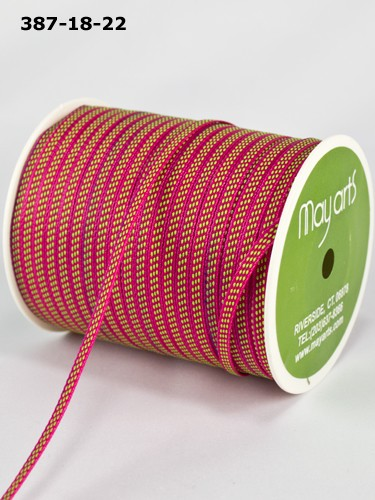 "May Arts - 1/8"" Solid / Center Stitches ( 1 Yard Total ) - Fuchsia / Parrot Green"
