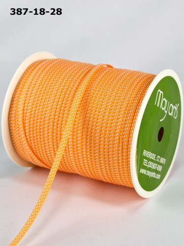 "May Arts - 1/8"" Solid / Center Stitches ( 1 Yard Total ) - Orange / White"