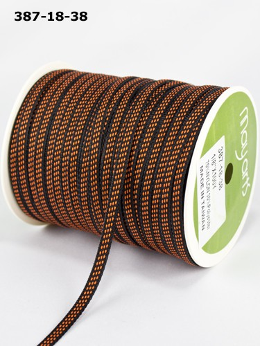 "May Arts - 1/8"" Solid / Center Stitches ( 1 Yard Total ) - Black / Orange"