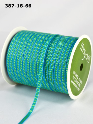 "May Arts - 1/8"" Solid / Center Stitches ( 1 Yard Total ) - Turquoise / Parrot Green"