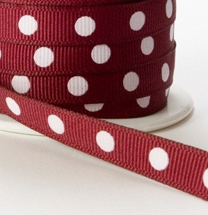 "May Arts Ribbon - 3/8"" Grosgrain with Center Dot - Burgundy (Price per yard)"