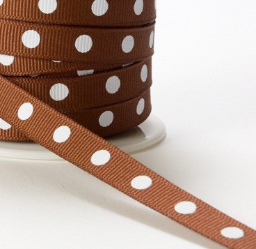 "May Arts Ribbon - 3/8"" Grosgrain with Center Dot - Rust (Price per yard)"