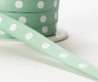 "May Arts Ribbon - 3/8"" Grosgrain with Center Dot - Seafoam (Price per yard)"