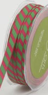 "May Arts Ribbon- 3/8"" Grosgrain Diagonal candy cane stripe- Fuchsia/Green"