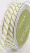 "May Arts Ribbon- 3/8"" Grosgrain Diagonal candy cane stripe- Olive/White"