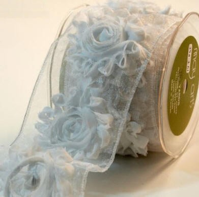 "May Arts Ribbon - 2.5"" Frayed Flower Sheer Trim - White (per yard)"