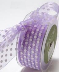 "May Arts Ribbon- 1.5"" Large Sheer Polka Dot - Lavender (per yard)"