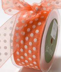 "May Arts Ribbon- 1.5"" Large Sheer Polka Dot - Orange/White (per yard)"