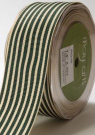 "May Arts Ribbon- 1.5"" Grosgrain with horizontal stripe-  Green (per yard)"