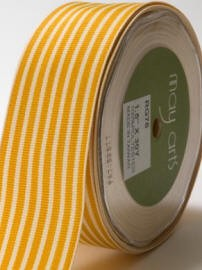 "May Arts Ribbon- 1.5"" Grosgrain with horizontal stripe-  Butterscotch (per yard)"