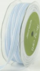 "May Arts Ribbon- 3/8""  Grosgrain with horizontal stripe- Light Blue/White (per yard)"