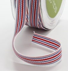 "May Arts - 1/2"" Grosgrain / Stripes - Red / White / Blue (1 yard)"
